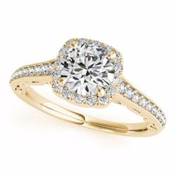 0.75 CTW Certified SI-I Diamond Bridal Solitaire Halo Ring 18K Yellow - 26541-#78Y9X