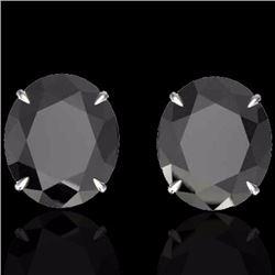 Natural 18 CTW Black Diamond Certified Designer Solitaire Stud Earrings 18K White Gold - 21695-REF#-