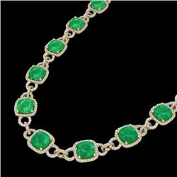 Natural 56 CTW Emerald & Micro Diamond Certified Eternity Necklace 14K Yellow Gold - 23042-REF#-587Z