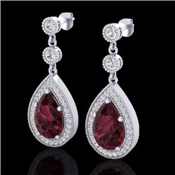 Natural 4.50 CTW Garnet & Micro Pave Diamond Certified Earrings Designer 18K White Gold - 23117-REF#