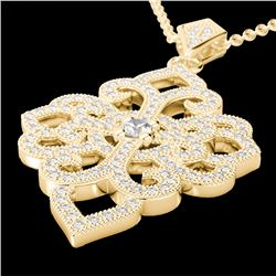 Natural 1.40 CTW Micro Pave Diamond Certified Designer Necklace 14K Yellow Gold - 22557-REF#-89K4W