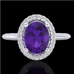 Natural 1.75 CTW Amethyst & Micro Diamond Bridal Ring Solitaire Halo 18K White Gold - 20998-REF#-43G