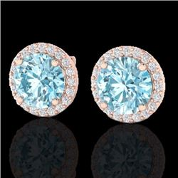 Natural 4 CTW Sky Blue Topaz & Halo Diamond Micro Earrings Solitaire 14K Rose Gold - 21482-REF#-43W2