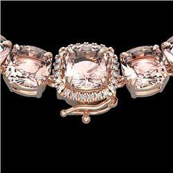 Natural 87 CTW Morganite & Diamond Halo Micro Pave Necklace 14K Rose Gold - 23353-REF#-1081T2K
