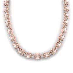 49.85 CTW MORGANITE & DIAMOND SI-I CERTIFIED ETERNITY TENNIS NECKLACE - 29512-#692X8N