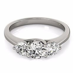 0.50 CTW Certified SI-I Diamond 3 stone Bridal Wedding  Ring 18K White - 28008-#66V2A