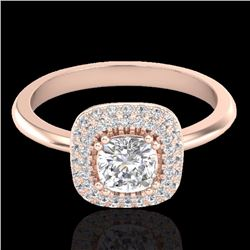 Natural 1.16 CTW Micro Diamond Bridal Engagement Ring Solitaire Halo 14K Rose Gold - 21030-REF#-94G9