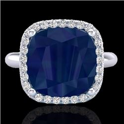Natural 6 CTW Sapphire & Micro Pave Halo Diamond Ring Solitaire 18K White Gold - 23104-REF#-53X2T