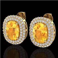 Natural 6 CTW Citrine & Micro Pave Diamond Certified Halo Earrings 14K Yellow Gold - 20119-REF#-82A5