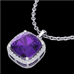 Natural 6 CTW Amethyst & Micro Pave Halo Diamond Necklace Solitaire 18K White Gold - 23073-REF#-47H8