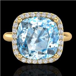 Natural 6 CTW Sky Blue Topaz & Micro Pave Halo Diamond Ring Solitaire 18K Yellow Gold - 23108-REF#-4
