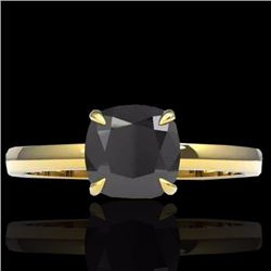 Natural 3 CTW Cushion cut Black Diamond Designer Solitaire Ring 18K Yellow Gold - 22136-REF#-59G4N