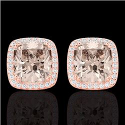Natural 6 CTW Morganite & Micro Pave Diamond Halo Solitaire Earrings 14K Rose Gold - 22807-REF#-107F