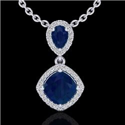 Natural 3.50 CTW Sapphire & Micro Diamond Certified Necklace Designer Halo 10K White Gold - 20548-RE