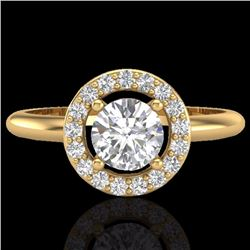 Natural .75 CTW Micro Pave Halo Solitaire Diamond Certified Ring 18K Yellow Gold - 23289-REF#-77Z3R