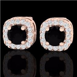 Natural .90 CTW Micro Pave Black & White Diamond SI Earrings Designer Halo IN 14K Rose Gold - 21168-