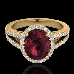 Natural 3 CTW Garnet & Micro Diamond Certified Halo Solitaire Bridal Ring 18K Yellow Gold - 20942-RE