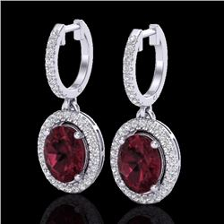 Natural 3.75 CTW Garnet & Micro Pave Diamond Earrings Solitaire Halo 18K White Gold - 20325-REF#-80Z