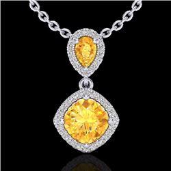 Natural 2.63 CTW Citrine & Micro Diamond Certified Necklace Designer Halo 10K White Gold - 20542-REF