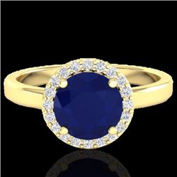 Natural 2 CTW Sapphire & Halo Diamond Micro Pave Ring Solitaire Bridal 18K Yellow Gold - 21644-REF#-
