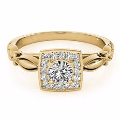 0.55 CTW Certified SI-I Diamond Bridal Solitaire Halo Ring 18K Yellow - 26256-#70M7G