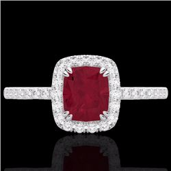 Natural 1.25 CTW Ruby & Micro Pave Diamond Certified Halo Ring 10K White Gold - 22908-REF#-25Z8R