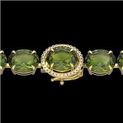 Natural 49 CTW Green Tourmaline & Micro Diamond Halo Designer Bracelet 14K Yellow Gold - 22264-REF#-