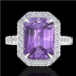 Natural 53 CTW Amethyst & Micro Pave Diamond Certified Halo Ring 18K White Gold - 21417-REF#-57T7K