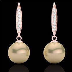 Natural .18 CTW Micro Pave Diamond Certified & Golden Pearl Designer Earrings 14K Rose Gold - 22633-