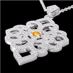 Natural 1.40 CTW Citrine & Micro Pave Diamond Designer Necklace 14K White Gold - 22552-REF#-95H2M