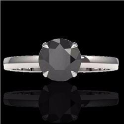 Natural 2 CTW Black Diamond Designer Inspired Solitaire Engagement Ring 18K White Gold - 22215-REF#-