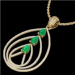 Natural 2 CTW Emerald & Micro Pave Diamond Certified Designer Necklace 18K Yellow Gold - 22468-REF#-
