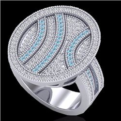 Natural 1.25 CTW Micro Pave Blue & White Diamond Certified Ring 14K White Gold - 20874-REF#-97K8W