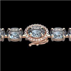 Natural 36 CTW Sky Blue Topaz & Diamond Tennis Micro Halo Bracelet 14K Rose Gold - 23444-REF#-80K7W