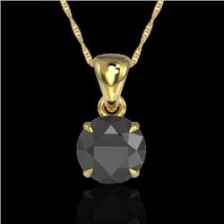 Natural 2 CTW Black Diamond Designer Inspired Solitaire Necklace 18K Yellow Gold - 22016-REF#-43A4X