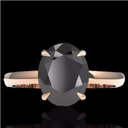 Natural 5 CTW Black Diamond Designer Inspired Solitaire Ring 14K Rose Gold - 22054-REF#-84Y3Z