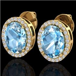 Natural 5.50 CTW Sky Blue Topaz & Micro Diamond Halo Earrings Ring 18K Yellow Gold - 20244-REF#-62R2