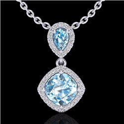 Natural 3.50 CTW Sky Blue Topaz & Micro Diamond Necklace Designer Halo 10K White Gold - 20539-REF#-4