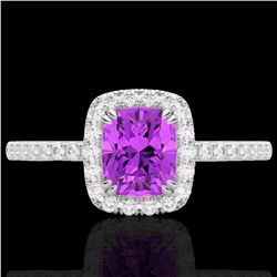 Natural 1.25 CTW Amethyst & Micro Pave Diamond Certified Halo Ring 10K White Gold - 22895-REF#-25W7G