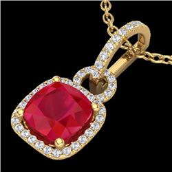 Natural 3 CTW Ruby & Micro Diamond Certified Necklace 18K Yellow Gold - 22989-REF#-44N2A