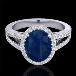 Natural 3 CTW Sapphire & Micro Pave Diamond Halo Solitaire Bridal Ring 18K White Gold - 20949-REF#-5