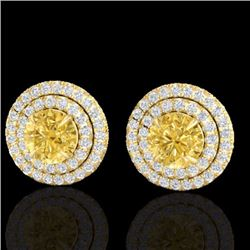 Natural 2 CTW Citrine & Micro Pave Diamond Stud Earrings Double Halo 18K Yellow Gold - 21468-REF#-81