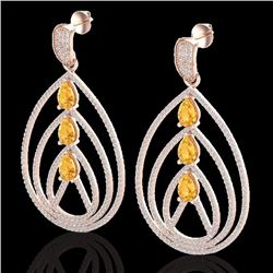 Natural 4 CTW Citrine & Micro Pave Diamond Certified Designer Earrings 14K Rose Gold - 22453-REF#-18