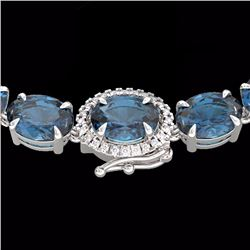 Natural 90 CTW London Blue Topaz & Diamond Tennis Micro Halo Necklace 14K White Gold - 23483-REF#-20