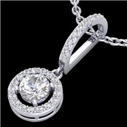 Natural .90 CTW Micro Pave Halo Solitaire Diamond CertifiedNecklace 18K White Gold - 23270-REF#-78K2