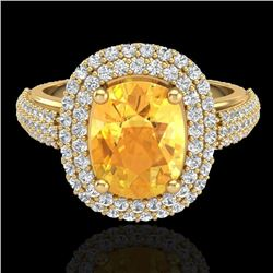 Natural 3.50 CTW Citrine & Micro Pave Diamond Certified Halo Ring 14K Yellow Gold - 20716-REF#-89N8A