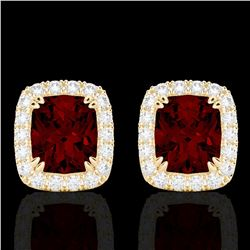 Natural 2.50 CTW Garnet & Micro Pave Diamond Certified Halo Earrings 10K Yellow Gold - 22865-REF#-31
