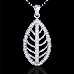 Natural 1 CTW Micro Pave Diamond Certified Designer Necklace 18K White Gold - 21546-REF#-75T8K