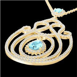 Natural 3.20 CTW Sky Blue Topaz & Micro Diamond Heart Designer Necklace 14K Yellow Gold - 22445-REF#