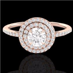 Natural 1 CTW Micro Pave Diamond Solitaire Bridal Ring Double Halo 14K Rose Gold - 21613-REF#-84W9G